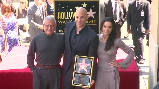 vin diesel michelle rodriguez and ron meyer at vin diesel honored with star on the hollywood walk of fame vin diesel michelle rodriguez and ron meyer... - vin diesel stock videos and b-roll footage