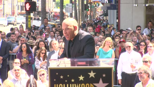speech vin diesel on his career and how proud he is to be honored with a star at vin diesel honored with star on the hollywood walk of fame speech... - vin diesel stock videos and b-roll footage