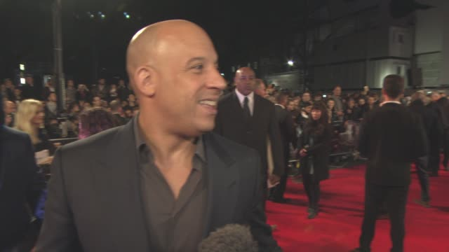 vin diesel on what he's scared of, if the film will turn into a franchise, if he would do a musical at 'the last witch hunter' uk film premiere at... - leicester square stock videos & royalty-free footage