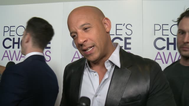 interview vin diesel on what this particular award means to him how he'll celebrate his win tonight at people's choice awards 2016 at nokia plaza la... - vin diesel stock videos and b-roll footage