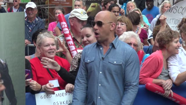 vin diesel poses for a photo with a fan on the outside set of the good morning america show in times square celebrity sightings in new york on july... - vin diesel stock videos and b-roll footage