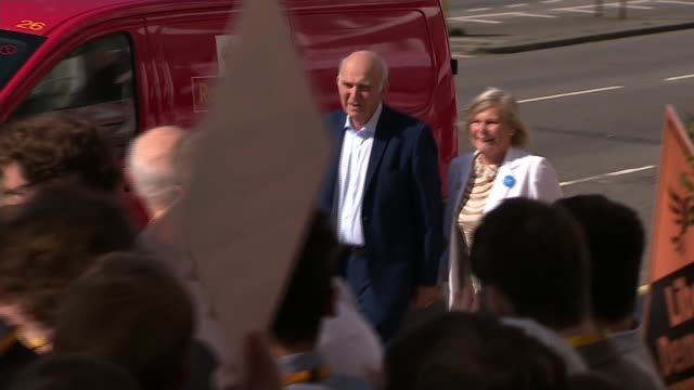 vince cable arrives at liberal democrats conference 2018 england east sussex brighton ext sir vince cable and wife rachel smith arriving and... - east sussex stock videos & royalty-free footage