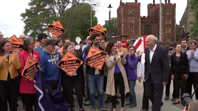 vince cable celebrating liberal democrat success in the european elections with supporters - celebration stock videos & royalty-free footage