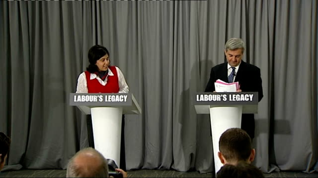 vince cable criticises david cameron speech on immigration lib chris huhne mp along to podium with conservative party chairman baroness sayeeda warsi... - speech bubble stock videos & royalty-free footage