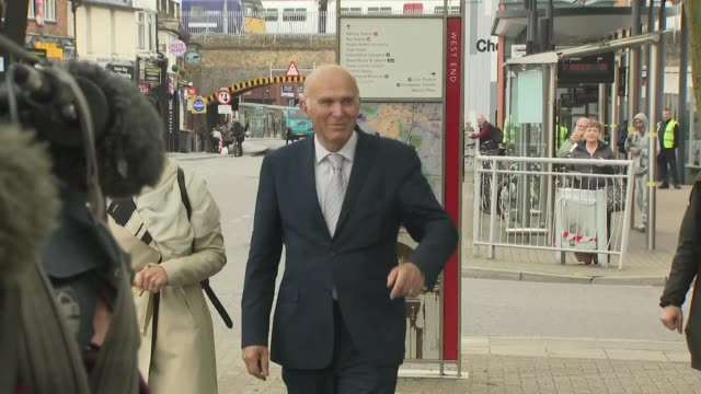 vince cable greeting cheering supporters after liberal democrat success in the local elections - vince cable stock videos & royalty-free footage