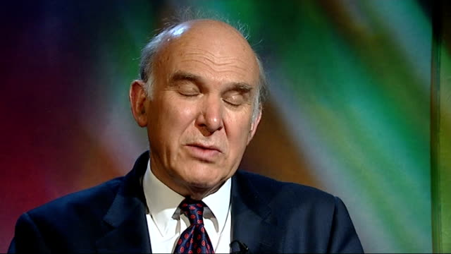 vince cable interview sot - conservatives are trying to panic people into voting for them. sterling was lower when the conservatives had a... - vince cable stock videos & royalty-free footage