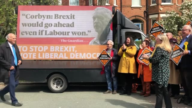 vince cable launches the liberal democrats' european election poster campaign in london. - vince cable stock videos & royalty-free footage