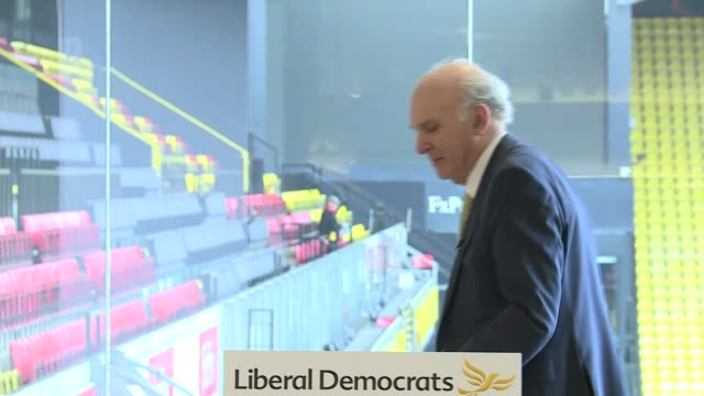 Vince Cable launches the Liberal Democrats local election campaign ENGLAND Hertfordshire Watford Vicarage Road Stadium INT Sir Vince Cable MP speech...