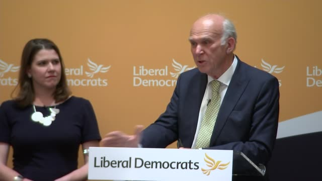 vince cable press conference; vince cable answers questions from audience with jo swinson on stage sot - vince cable stock videos & royalty-free footage