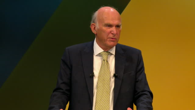 """vince cable saying theresa may should """"lead her party and her country by opening her mind to a people's vote on the final brexit deal"""" - vince cable stock videos & royalty-free footage"""