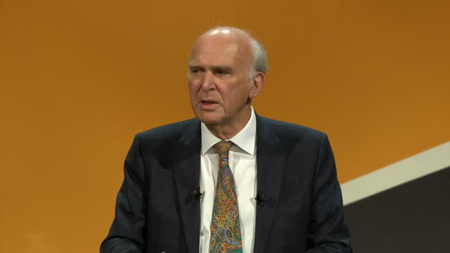 vince cable says that he is calling for 'a first referendum on the facts' rather than a 'rerun' of the brexit referendum bournemouth september 2017... - neckwear stock videos and b-roll footage