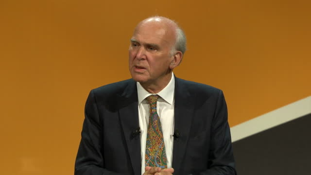 vince cable says that his role as leader of the liberal democrats is to be a credible potential prime minister during a speech at a party conference... - bournemouth stock-videos und b-roll-filmmaterial