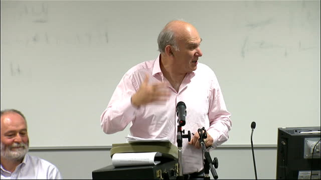 vince cable speech at social liberal forum conference england london int vince cable mp speech sot thank you for inviting me / there is a disconnect... - speech bubble stock videos & royalty-free footage