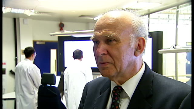 vince cable wants government to set up its own bank; london: imperial college: int vince cable mp interview sot - chancellor runs the treasury, he's... - cable television stock videos & royalty-free footage