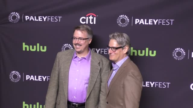 vince gilligan and peter gould at the paley center for media 'better call saul' presentation at paleyfest at the dolby theatre in hollywood at... - paley center for media los angeles stock videos & royalty-free footage