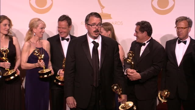 vince gilligan talks about television with the cast and crew of breaking bad behind him after winning a 2013 emmy award. - emmy awards stock videos & royalty-free footage