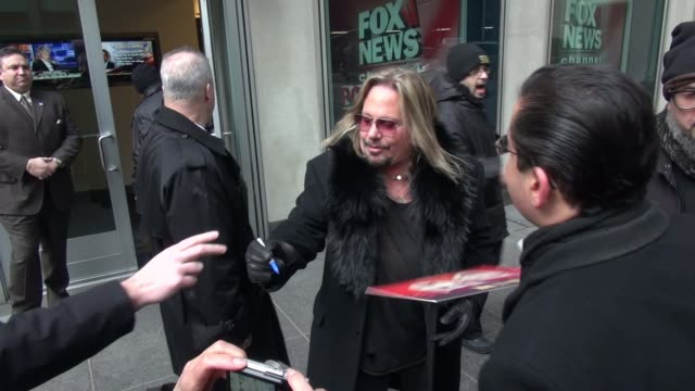 vince neil leaves the fox friends show signs and poses for photos in celebrity sightings in new york - vince neil stock videos and b-roll footage