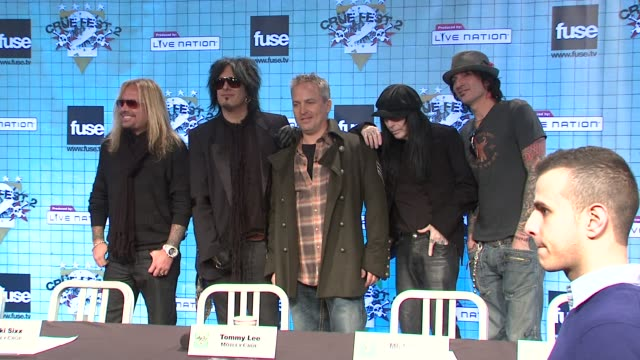 vince neil nikki sixx jeff gordon mick mars and tommy lee at the motley crue announces crue fest 2 at new york ny - vince neil stock videos and b-roll footage