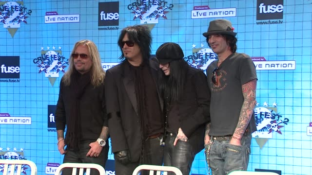 vince neil nikki sixx mick mars and tommy lee at the motley crue announces crue fest 2 at new york ny - vince neil stock videos and b-roll footage