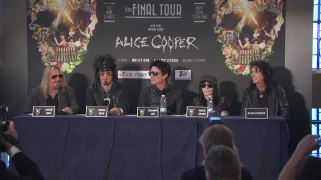 interview vince neil nikki sixx on what they've learnt from touring together at motley crue european press conference on june 09 2015 in london... - vince neil stock videos and b-roll footage