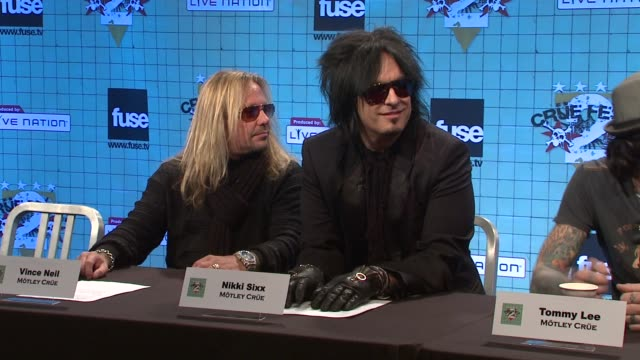 vince neil nikki sixx tommy lee and mick mars at the motley crue announces crue fest 2 at new york ny - vince neil stock videos and b-roll footage