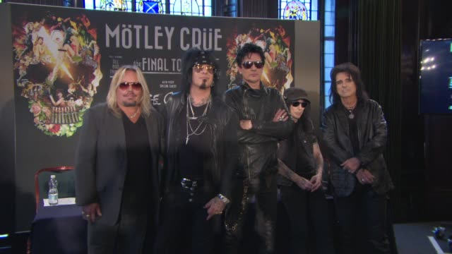 vince neil nikki sixx tommy lee mick mars alice cooper at motely crew european press conference on june 09 2015 in london england - vince neil stock videos and b-roll footage