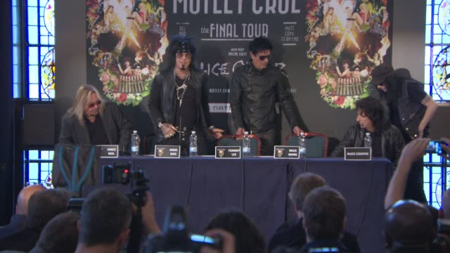 vince neil nikki sixx tommy lee mick mars alice cooper at motley crue european press conference on june 09 2015 in london england - vince neil stock videos and b-roll footage