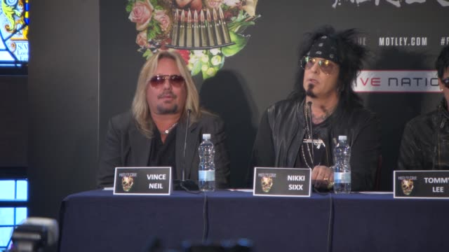 interview vince neil on announcing the last tour nikki sixx first coming to the uk what playing in the uk means to them at motley crue european press... - vince neil stock videos and b-roll footage