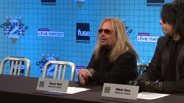 vince neil on performing all of their songs from 'doctor feel good' and their hits at the motley crue announces crue fest 2 at new york ny - vince neil stock videos and b-roll footage
