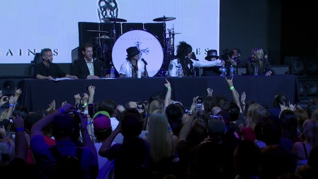 vince neil on the name of the album what the album is about and it being the first record in 10 years at the motley crue press conference at the... - vince neil stock videos and b-roll footage