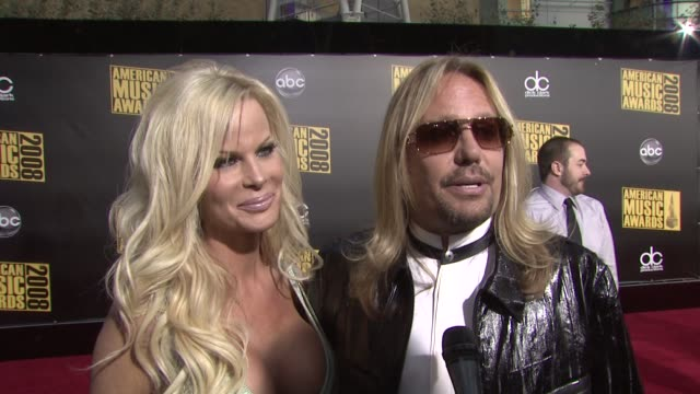 vince neil on what he's doing here tonight and on who he's looking forward to seeing at the 2008 american music awards at los angeles ca - vince neil stock videos and b-roll footage