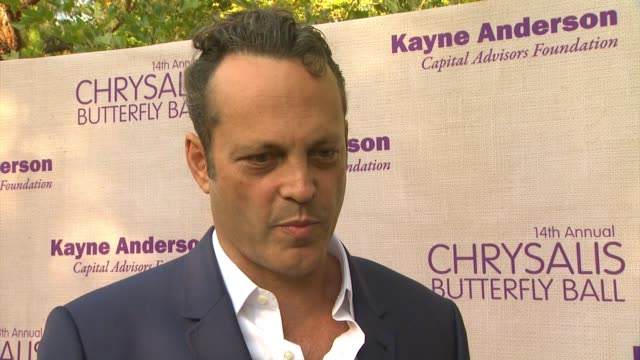 interview vince vaughn on being a part of the night and what he appreciates about chrysalis the last time someone gave him a second chance at 14th... - chrysalis butterfly ball video stock e b–roll