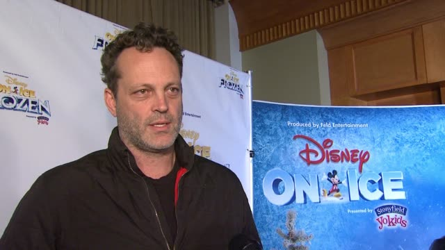vince vaughn on his daughter's love for frozen, the appeal of the film at disney on ice presents frozen los angeles celebrity premiere in los... - vince vaughn stock videos & royalty-free footage