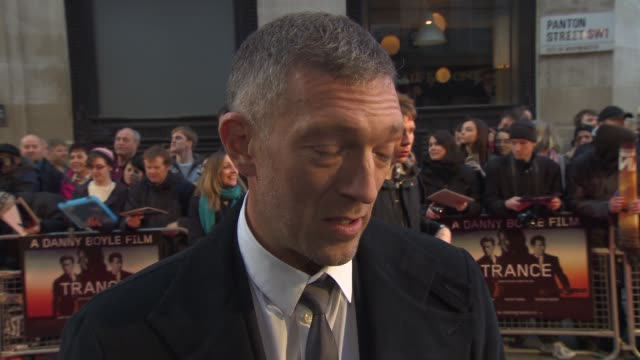 vincent cassel on the film, genres, who he would like to work with, trying hypnosis at 'trance' uk premiere at odeon west end on march 19, 2013 in... - hypnosis stock videos & royalty-free footage