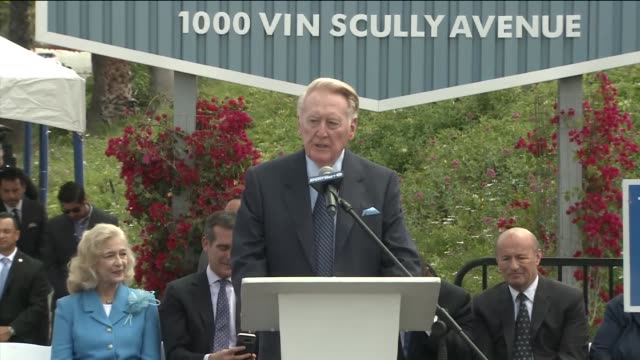 ktla vincent edward known as vin scully talks about what he will miss the most when he retires at his dedication ceremony a street leading to dodger... - baseballmannschaft stock-videos und b-roll-filmmaterial