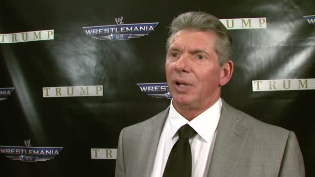 Vincent K McMahon on his Hair vs Hair Wrestlemania match with Donald Trump how he's feeling after the altercation at the press conference missing a...