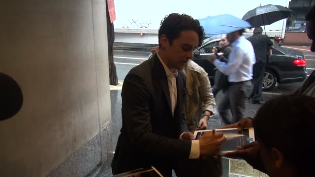 Vincent Piazza signs for fans before going into the Today show in Rockefeller Center in Celebrity Sightings in New York