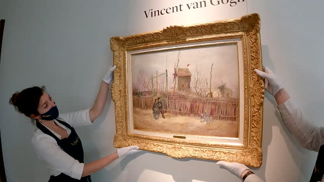 vincent van gogh painting, street scene in montmartre, being hung on display in sotheby's auction house in paris - painted image stock videos & royalty-free footage