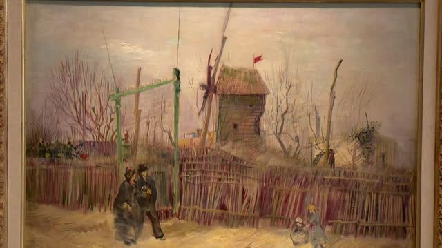 vincent van gogh painting, street scene in montmartre, on display in sotheby's auction house in paris - painted image stock videos & royalty-free footage