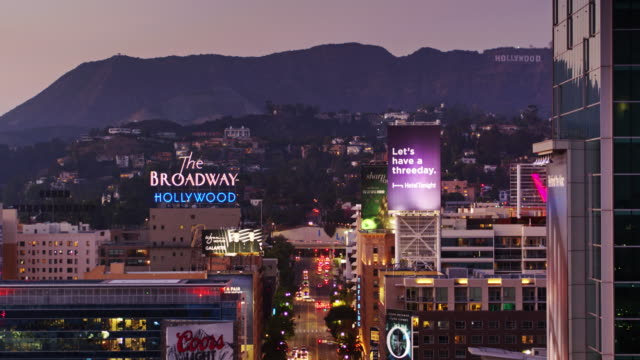 vine st, hollywood at night - drone shot - city of los angeles stock videos & royalty-free footage