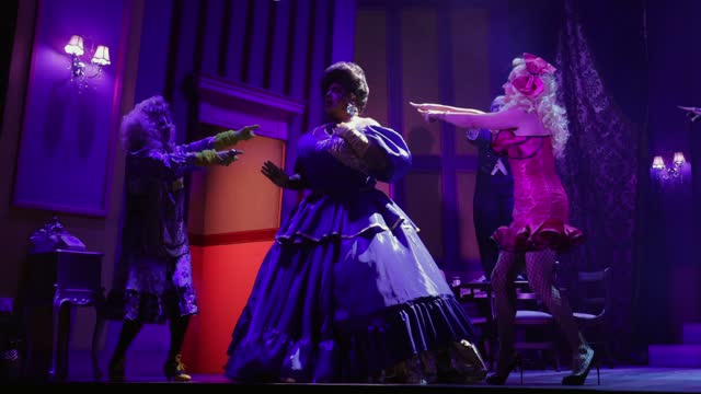 """vinegar strokes, holly stars and courtney act during the """"death drop"""" dress rehearsals at garrick theatre on december 3, 2020 in london, england. - reality tv stock videos & royalty-free footage"""
