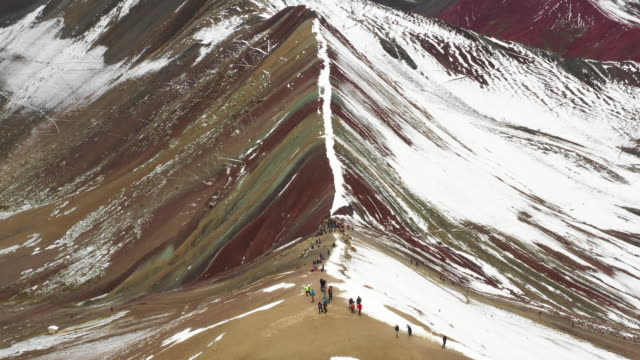 vinicunca rainbow mountain / peru - topography stock videos & royalty-free footage