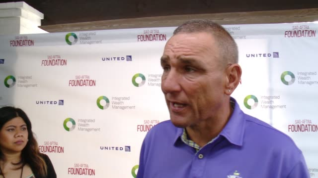 interview vinnie jones at sagaftra foundation honors kerry washington with actors inspiration award at 7th annual los angeles golf classic at... - vinnie jones stock videos & royalty-free footage