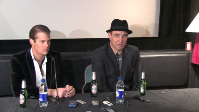 vinnie jones on taunting alex about his chances of winning at the celebrity big brother winner's press conference at borehamwood england - vinnie jones stock videos & royalty-free footage