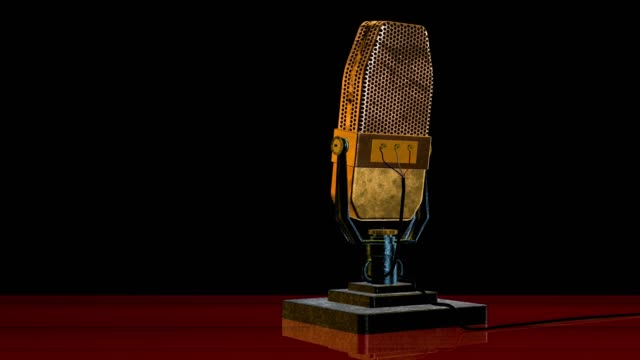 vintage 1930s ribbon microphone saved with alpha channel - microphone stock videos & royalty-free footage