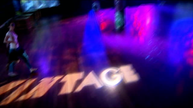 vintage at southbank centre festival ** music heard sot ** dance floor with 'vintage' superimposed close shot 'wag club' poster music ends - festival poster stock videos & royalty-free footage