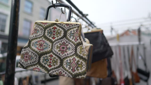 vintage bags for sale on a market stall in portobello road - notting hill videos stock videos & royalty-free footage