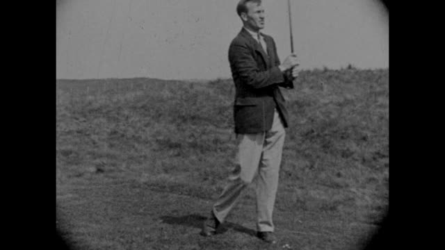 vintage black and white footage of archie compston the english professional golfer demonstrating his shots circa 1920s - 1925 stock videos & royalty-free footage