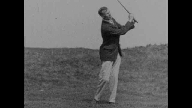 vintage black and white footage of archie compston the english professional golfer demonstrating his shots circa 1920s. - black and white stock videos & royalty-free footage