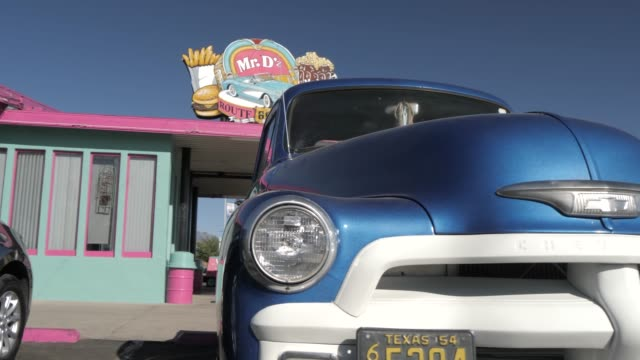 vintage car at mr. d route 66 diner at kingman, route 66, arizona, united states of america, north america - kingman arizona stock videos & royalty-free footage